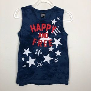 "Modern Lux ""Happy & Free"" Patriotic Burnout Tank S"